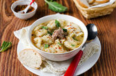 Soup with meat dumplings — Stock Photo
