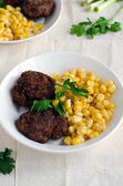 Cutlets of chickpea with canned corn — ストック写真