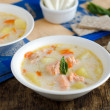 Soup with cheese and salmon — Stock fotografie