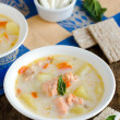 Soup with cheese and salmon — Stock Photo