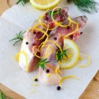 Fish with lemon and spices — Stock Photo