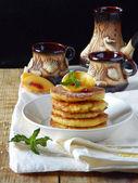 Millet - cheese pancakes — Stock Photo