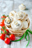 Fresh field mushrooms and tomatoes — Stock Photo
