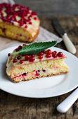 Brioche with cream and berries — Stock Photo