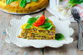 Meat pie with spinach — Stock Photo