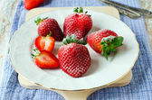Fresh strawberries with sugar — Stock Photo