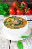 Mushroom soup with buckwheat — Stock Photo
