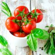 Fresh tomatoes , tarragon , onion and spinach — Stock Photo #23961387
