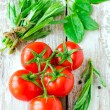 Fresh tomatoes , spinach and tarragon — Stock Photo #23961589