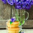 Muffins with flowers hyacinth — Stock Photo