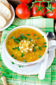 Lentil soup and mushrooms — Stock Photo