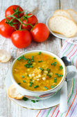 Lentil soup with pasta — Stock Photo