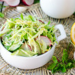 Stock Photo: Salad from fresh cucumbers , radish and cabbage