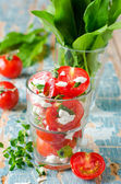 Salad of fresh cherry tomatoes with herbs and cheese — Photo