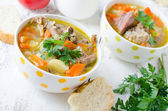 Turkey soup with vegetables — Stock Photo