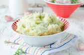 Mashed potatoes or baked with garlic — Stock Photo