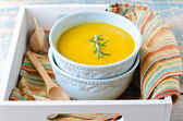 Pumpkin cream soup with lentils and rosemary — Stockfoto