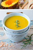 Pumpkin cream soup with lentils and rosemary — Stok fotoğraf