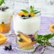 Stock Photo: Cream dessert with fruit and berries