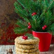 Christmas cookies on the table with Christmas decorations — Stock Photo #36548861