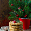 Christmas cookies on the table with Christmas decorations — Stock Photo
