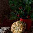 Christmas cookies on the table with Christmas decorations — Stock Photo #36549627