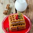 Stock Photo: Viennese waffles for breakfast