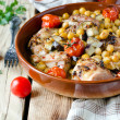 Baked chicken with chickpeas and vegetables — Stock Photo #37254633