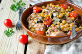 Baked chicken with chickpeas and vegetables — Stock Photo