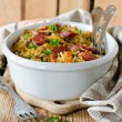 Cabbage stew with lentils and sausages — Stock Photo #37302485