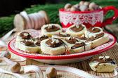 圣诞曲奇巧克力和坚果 — 图库照片