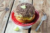 Sponge cake with cream and chocolate — Stock Photo