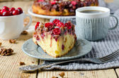 Cake with cranberries and walnuts — Stock Photo