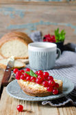 Homemade bread with butter and red currant — Stock Photo