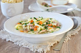 Chicken soup with homemade noodles — Stockfoto