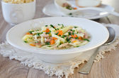 Chicken soup with homemade noodles — Stock Photo