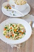 自家製の麺と鶏スープ — ストック写真