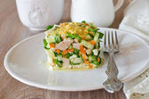 Salad with chicken, carrots, eggs and cucumbers — Stock fotografie