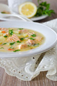 Cheese soup with salmon — Stock Photo