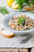 Barley porridge with meat and vegetables — Stock Photo