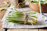 Ramson on a wooden table — Stock Photo