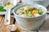 Cheese soup with chicken and vegetables — Stock Photo