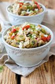 Barley porridge with mushrooms and vegetables — Stock Photo