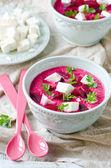Beet cream soup with feta — Stock Photo