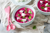 Beet cream soup with feta — Stock Photo