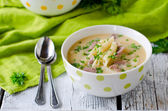 Chicken cream soup with pasta — Stock Photo