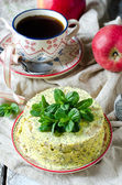 Cheesecake with poppy seeds and apples — Foto Stock