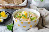 Millet soup with salmon cabbage — Stock Photo