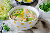 Millet soup with salmon and young cabbage — Stock Photo