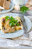 Cabbage and mushrooms baked with cheese — Stock Photo